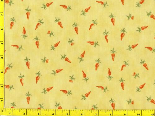Small Bright Orange Carrots on Yellow By The Yard CFOVEG08265