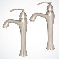 2x Contemporary Vessel Sink Faucet Bathroom Lavatory Vanity Brushed Nickel