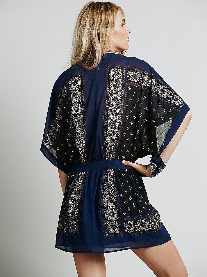 Free People Kimono Print Print Print Boho Festival Tunic Mini Dress XS S M NWT Sold Out  128 2787f4