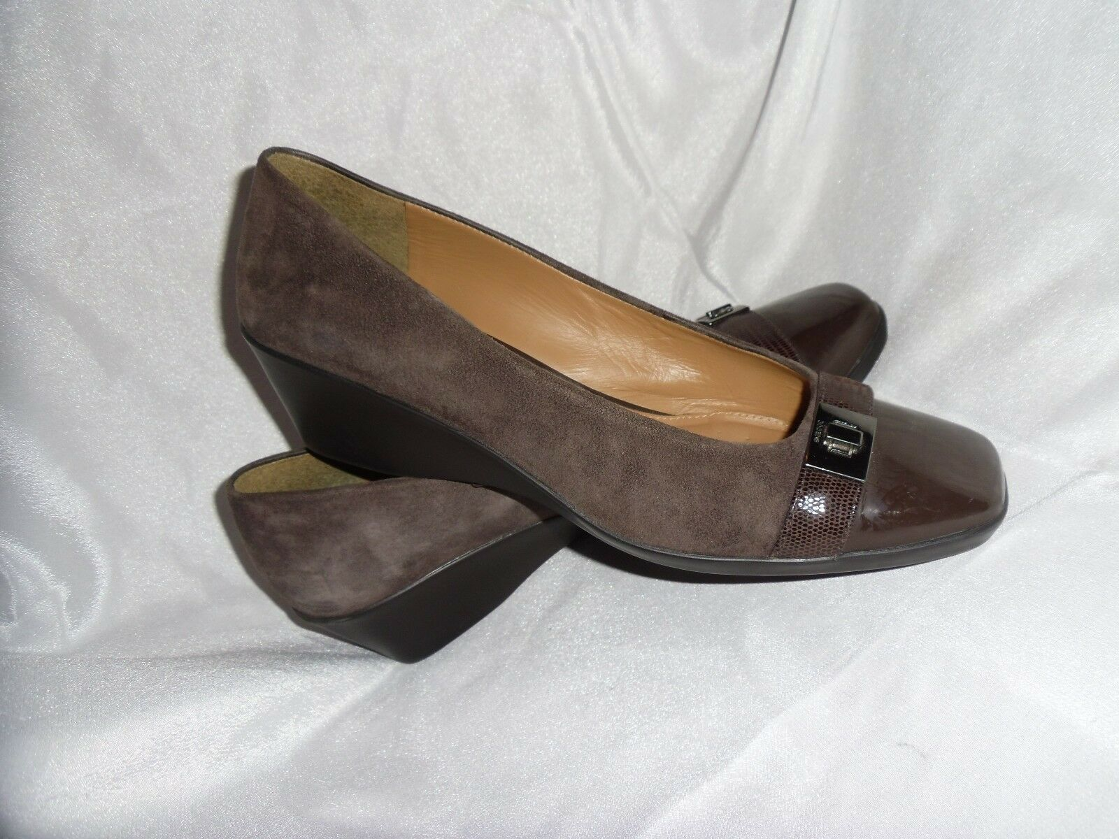 GEOX WOMEN'S BROWN SUEDE/PATENT LEATHER SLIP ON Schuhe SIZE UK 5 EU 38 VGC