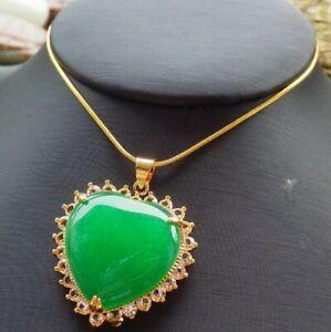 247723 Imitation Gold Plate CHINESE Green JADE Pendant Love Heart Diamond