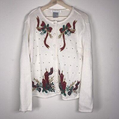Christmas Sweater Cardigan Womens Large XMAS Festive Ugly Bows Vtg