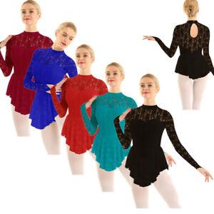 Women-Lace-Ballet-Dancewear-Tutu-Dress-Ballerina-Adult-Skirt-Leotard-Ice-Skating