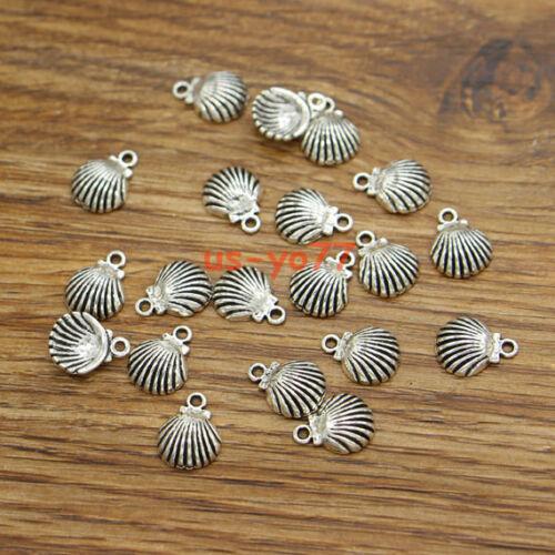 50 Shell Charms Beach Charm Classic Shape Bulk Charm Antique Silver 9x12 3493