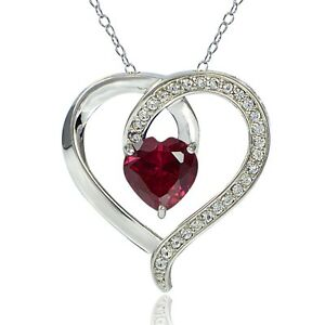 Sterling-Silver-2-25ct-TGW-Created-Ruby-amp-White-Sapphire-Heart-Necklace