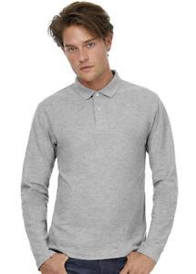 Mens-Long-Sleeve-Polo-Shirt-Casual-Cotton-Button-Top-Sizes-S-M-L-XL-2XL-3XL-4XL