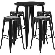 30'' Round Black Metal  Bar Table Set W/4 Square Seat Backless Barstools