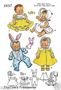 Details about 1657 Vintage Doll Clothes Pattern 13 inch Baby Dolls