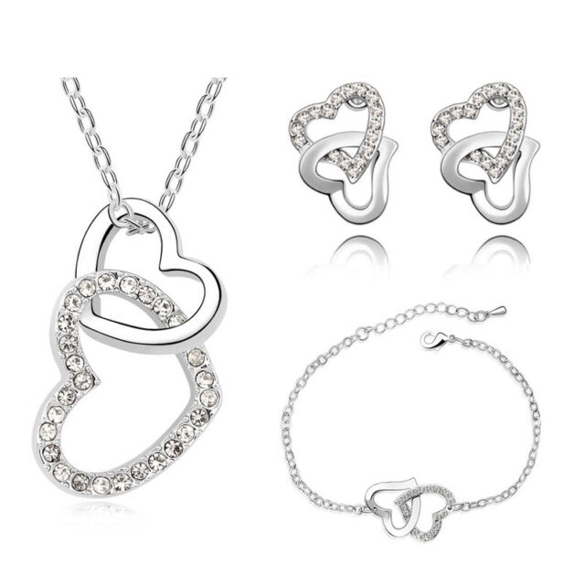 Bridal Jewellery Jewelry Set White Crystal Heart Earrings Bracelet Necklace S466