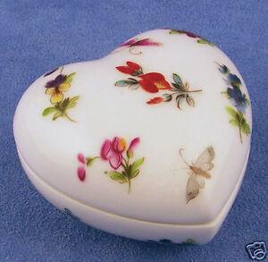 "French Chamart Limoge /""Flower Basket/"" Heart Trinket Box"