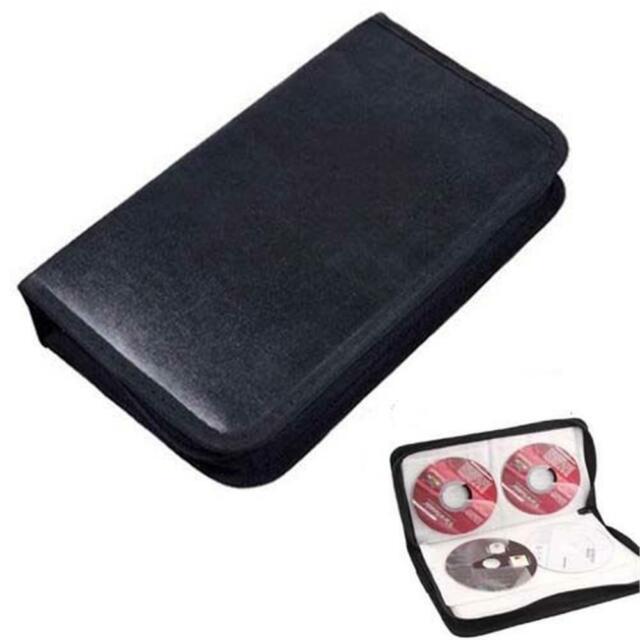 80 Disc CD Holder DVD Case Storage Wallet VCD Organizer Faux Leather Bag Holder