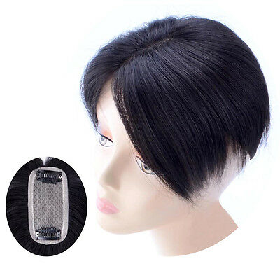 Clip In 100% Virgin Human Hair Hands Knits Bangs With Simulation Scalp Top Piece