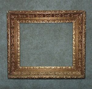 """19th c. Baroque Style Gilt Wood & Gesso Antique Picture Frame 14 1/4"""" x 17 1/4"""""""