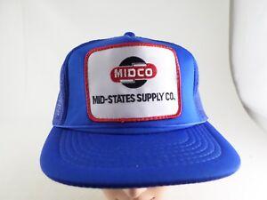 VTG-Foam-Mesh-Trucker-Hat-MIDCO-Patch-Mid-States-Supply-Snapback-Cap-Blue