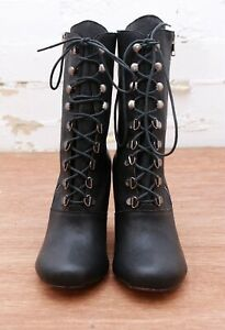 WITCHERY-Black-Leather-LACE-UP-High-Heel-Boots-Shoes-Size-EUR-41-AUS-10-5-AS-NEW