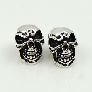 2-Pcs-925-Sterling-Silver-8x11mm-Vintage-Celtic-Skull-Bead-Charm-Spacer-WSP215x2