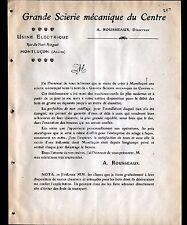 """MONTLUCON (03) GRANDE SCIERIE MECANIQUE DU CENTRE """"A. ROUSSEAU"""" en 1908"""