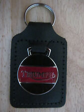 45026BR TRIUMPH MOTORCYCLE BLACK & RED LEATHER KEY FOB / KEYRING