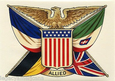 1918 Victor Colorado World War I Patriotic Allied Flags Auto Window Decal (3703)