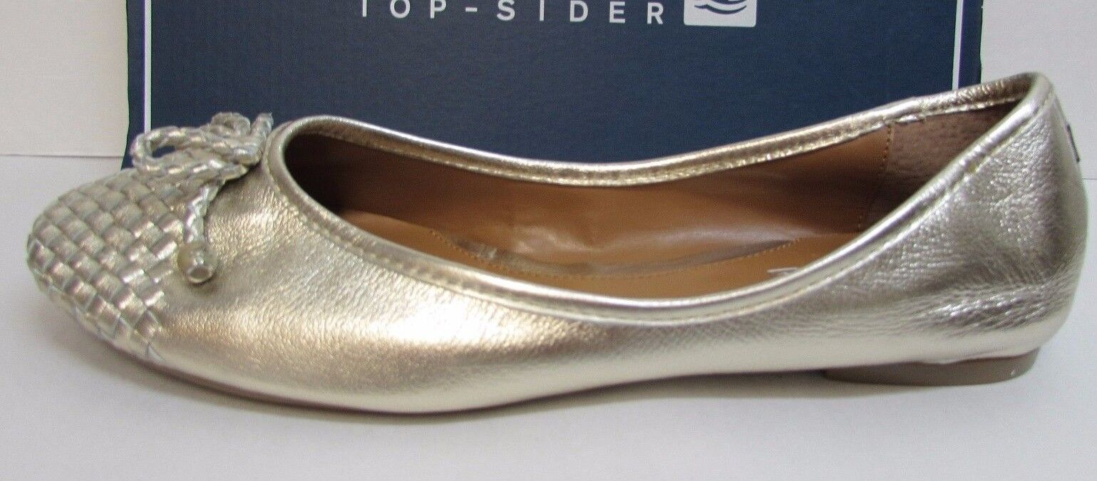 Sperry Size 6.5 Gold Leather Shoes Ballet Flats New Donna Shoes Leather 69371c