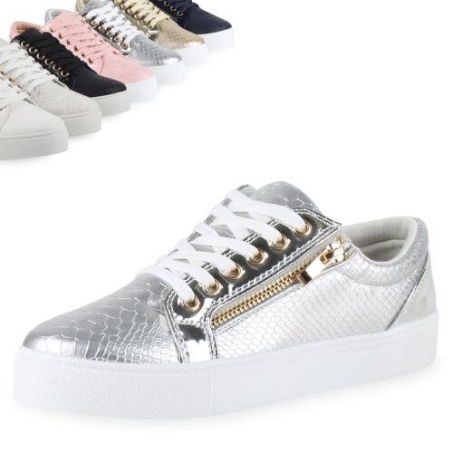 Damen Sneakers Low Lack Freizeit Schuhe Turnschuhe Kroko 79499 Top