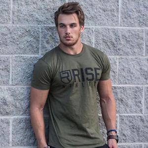Men-039-s-Leisure-T-Shirt-Crossfit-Fitness-Bodybuilding-Muscle-male-Short-Slim-fit