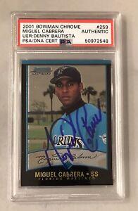 2001 Bowman Chrome Miguel Cabrera Card Auto Autographed PSA, Marlins, Tigers