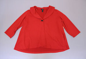 Ali-Miles-Women-039-s-Plus-Sleeve-One-Button-Crepe-Jacket-KB8-Scarlet-Size-3X-NWT