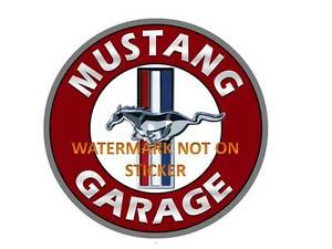 VINTAGE-FORD-MUSTANG-GARAGE-DECAL-STICKER-LABEL-LARGE-DIA-240-MM-HOT-ROD