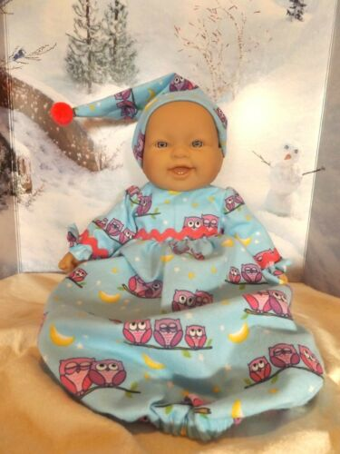 "baby doll clothes 1416"" blue owl nightgown fits berengueramerican bitty blue"