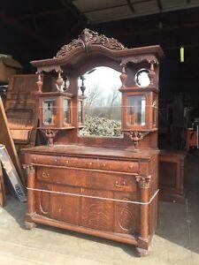 Antique Oak Sideboard Beveled Mirrors Beveled Glass