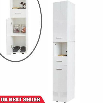 High Gloss Tallboy Bathroom Cabinet Corner Storage Cupboard Furniture Unit White Ebay