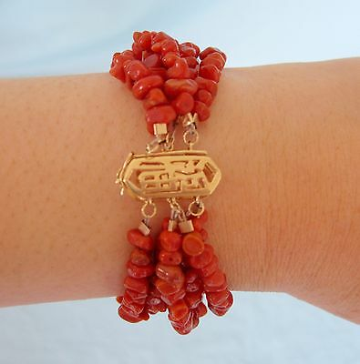 Genuine Red Coral Bead Bracelet Multi Strand with Solid 14K Gold Clasp Chinese