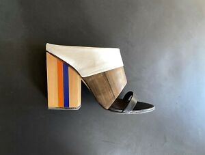 TORY BURCH tricolor leather sandals mules with striped heels - size US 8,5