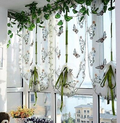Butterfly Roman Curtains Kitchen Balloon Shades Cafe Rustic Sheer 32x79\
