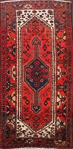 Vintage-Geometric-Tribal-Hamedan-Hand-knotted-Area-Rug-Wool-Oriental-4x7-Carpet