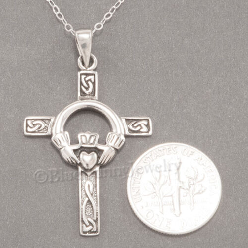 """CELTIC CROSS Necklace Irish Charm Pendant Claddagh STERLING SILVER 18/"""" chain 925"""