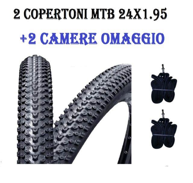 2 COPERTONI GOMME 2 CAMERE D/'ARIA OMAGGIO  BICI BICICLETTA MTB 14 X 1.75