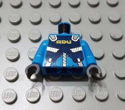 Lego New Coral Minifig Torso Female Compression Dark Azure Panels White Stripe