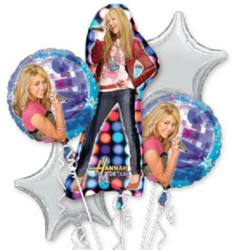 ~ Party Supplies HANNAH MONTANA Rock the Stage FOIL MYLAR BALLOON BOUQUET 5pc