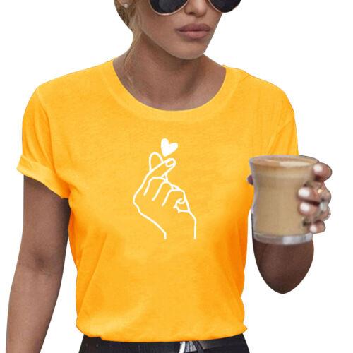 Damen Kurzarm Shirt T-Shirts Bluse Oberteil Love Heart Print Tops Tunika Sommer