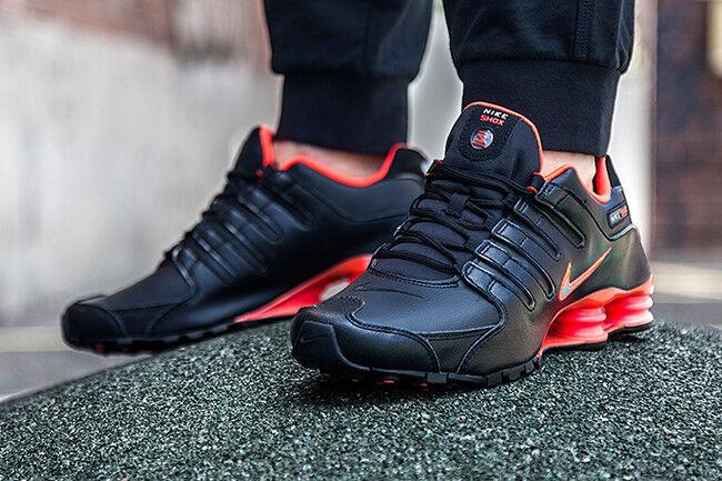 Mens Nike Shox NZ Sneakers New, Black / Crimson Orange Red 378341-006 SKU AA