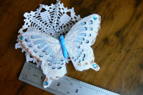 WhiteAquaCopper Feather BUTTERFLY 11.5x8cm/&2.5cm Squeeze Clip-Touch Of Nature