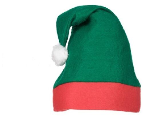 Elf Hat-Green /& Red Hat con Pom Pom-Festa di Natale Cappello Elfo cattivo
