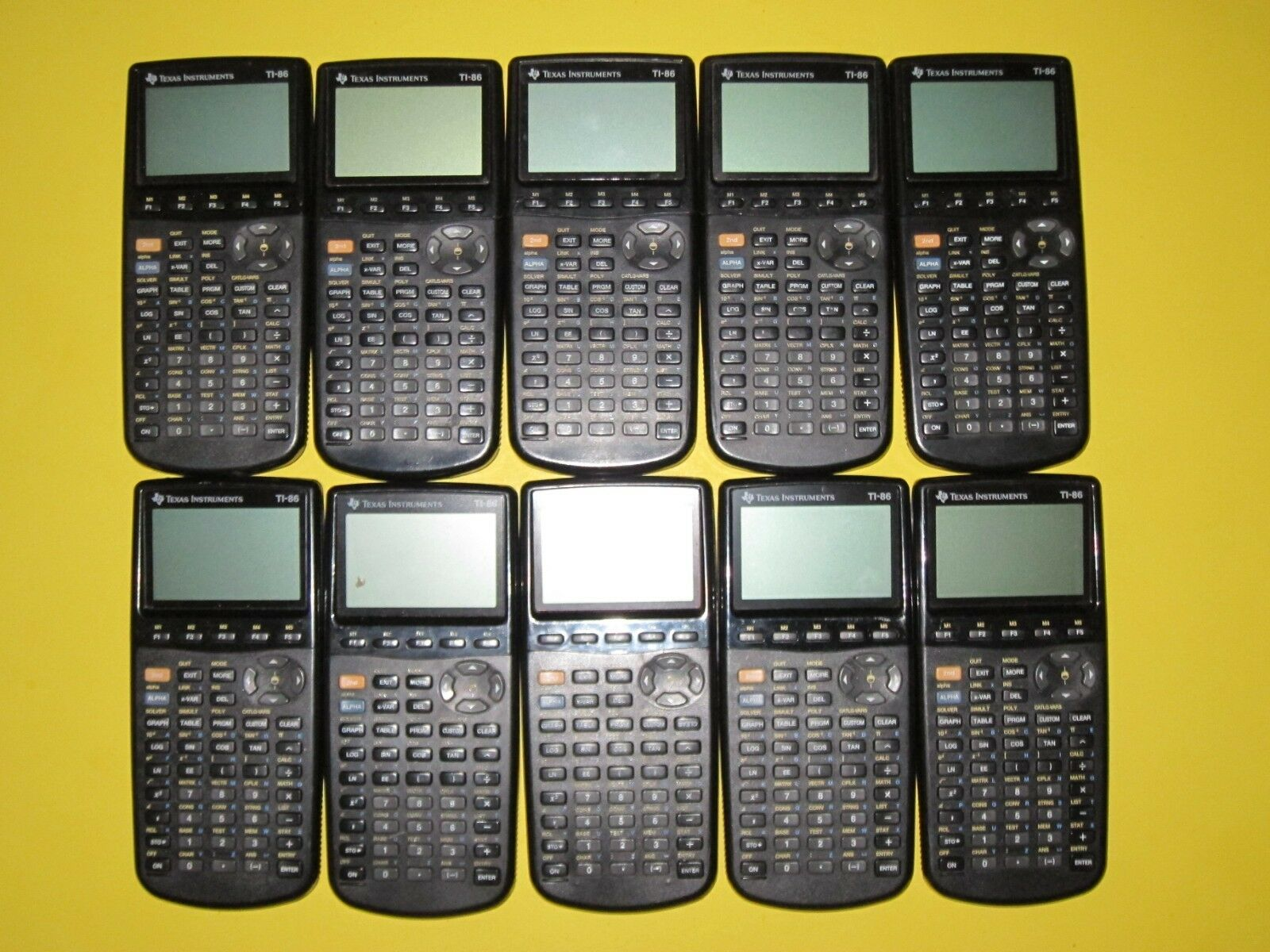 Lot of 10 TEXAS INSTRUMENTS TI 86 Calculators FOR REPAIR