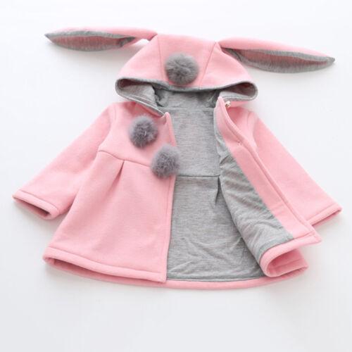 Kids Baby Girl Rabbit Ear Bunny Hooded Coat Autumn Winter Warm Jacket Outwear UK