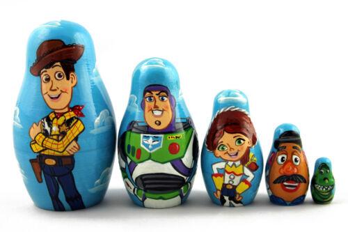 Cartoon Toy Story Matryoshka Russian Nesting Wooden Dolls Stacking Babushka 5 Pc