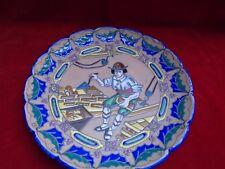 Assiette décorative, plat décoratif à décor de maçon, émaux cloisonnés