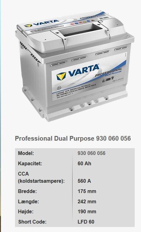 Varta LFD60 12V 60Ah   start-/forbrugsbatteri S...