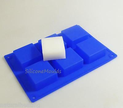 """6 cell BLUE 2"""" SQUARE Silicone Bakeware Cake Mould Baking Soap Mold Wax Pan"""